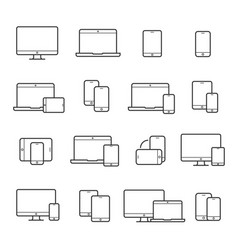 device line icon set vector image