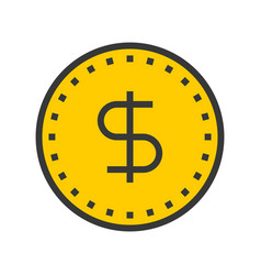 Dollar coin online shopping filled style icon vector