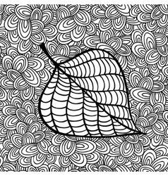 Doodle pattern with black and white autumn leaf vector