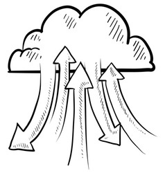 Doodle the cloud upload download vector