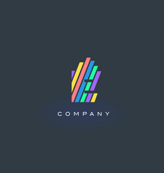 e letter logo with colorful lines design rainbow vector image