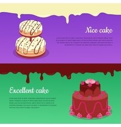 Excellent Cake and Tasty Cake Flat Banners vector image