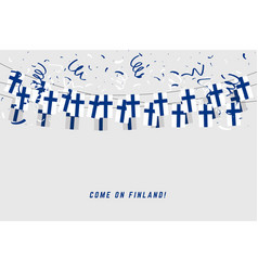 finland garland flag with confetti vector image