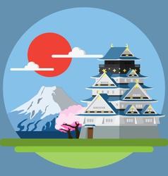 Flat design landscape of japan vector