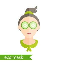 Flat design of a girl with mask of cucumber on her vector