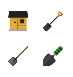 Flat icon garden set of shovel stabling trowel vector