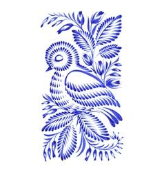 Floral decorative ornament bird asleep vector