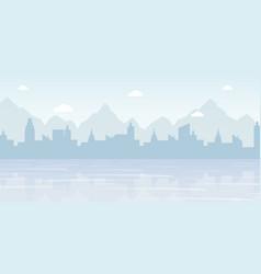 Foggy cityscape panorama flat vector