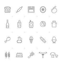 food drink and kitchen equipment icons 3 vector image