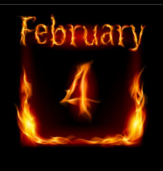 fourth february in calendar of fire icon on black vector image