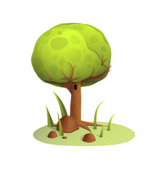 Green tree and rocks on summer lawn vector