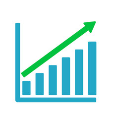 growth graph business chart bar diagram vector image
