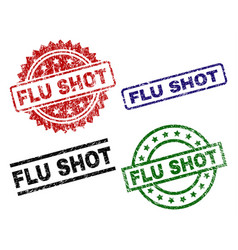 Grunge textured flu shot seal stamps vector