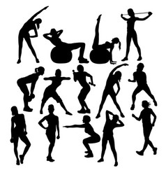Gym fitness and exercise silhouettes vector