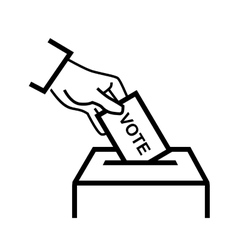 hand putting a voting ballot vector image