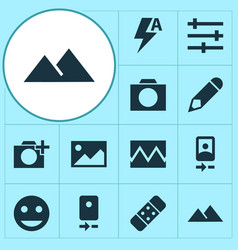 Image icons set with photographing smartphone vector