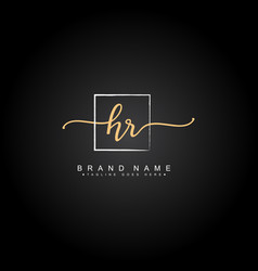 Initial letters hr logo - handwritten signature vector