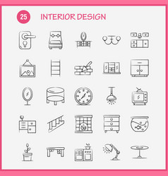 interior design hand drawn icons set for vector image