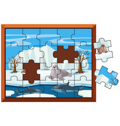 jigsaw puzzle pieces of walrus and sharks vector image