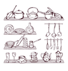 kitchen wooden shelves with different tools hand vector image