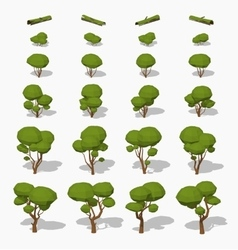 Low poly green trees vector