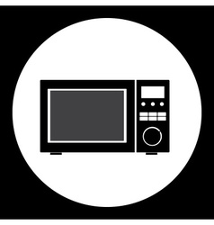 Microwave simple isolated black and gray icon vector
