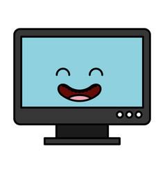 monitor computer kawaii character vector image