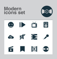 Music icons set with cinema vinyl playlist and vector