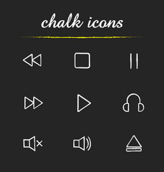 music player interface chalk icons set vector image