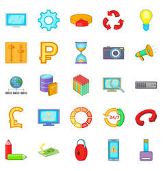 Online business icons set cartoon style vector