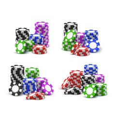 online casino poker chips stacks and piles vector image