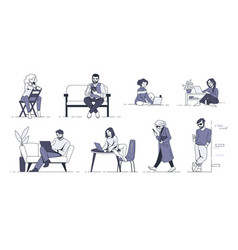 people with gadgets men and women using phones vector image