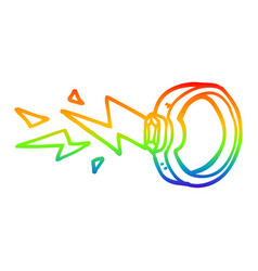 Rainbow gradient line drawing cartoon zapping ring vector
