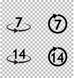 Return of goods within 7 or 14 days sign icon on vector