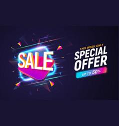 Sale discount banner on dark background vector