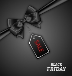 Sale Discount with Bow Ribbon for Black Friday vector image