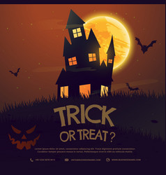 Scary halloween house with moon and flying bats vector