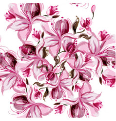 Seamless background with spring magnolia flowers vector