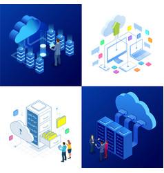 Set design templates cloud computing concept vector