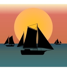 ship silhouette in the sea vector image