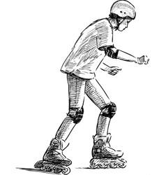 Sketch teen boy riding on roller skates vector
