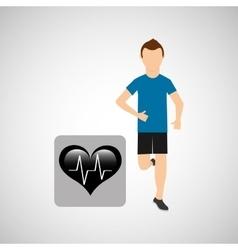 sport man running monitoring heart vector image