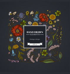 Square floral design on dark background with vector