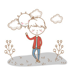stylish boy cartoon outfit nature clouds vector image