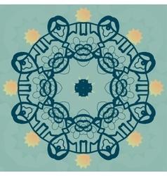Stylized mandala flower on green banner vector image