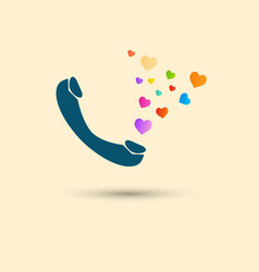 Telephone blue handset with bright hearts vector