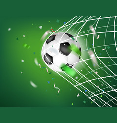 The ball in soccer net goal concept vector