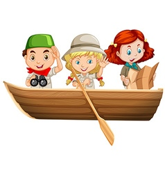 Three kids riding on rowboat vector