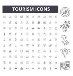 tourism line icons signs set outline vector image