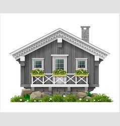 Traditional finnish scandinavian wooden house vector